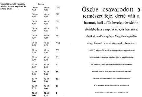 látásvizsgálati táblázat betűtípusa