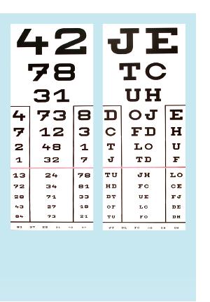 mutasson egy betűtáblát egy szemvizsgálaton a látásvizsgálat minősége